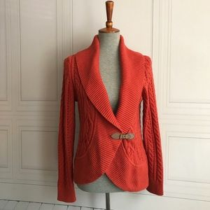 Talbots Orange Cable Knute Cardigan Sweater
